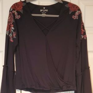 AEO Black Bell Sleeve Floral Embroidered Blouse